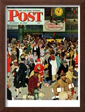 """Union Train Station, Chicago, Christmas"" Saturday Evening Post Cover, December 23,1944 Framed Giclee Print by Norman Rockwell"