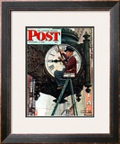 """Clock Repairman"" Saturday Evening Post Cover, November 3,1945 Framed Giclee Print by Norman Rockwell"