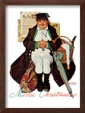"""Merrie Christmas"" or Muggleston Coach, December 17,1938 Framed Giclee Print by Norman Rockwell"