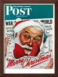 """Santa's in the News"" Saturday Evening Post Cover, December 26,1942 Framed Giclee Print by Norman Rockwell"