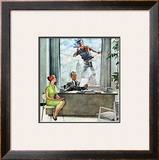 """Window Washer"", September 17,1960 Framed Giclee Print by Norman Rockwell"