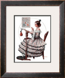 """""""Needlepoint"""", March 1,1924 Framed Giclee Print by Norman Rockwell"""