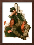 """Asleep on the Job"", August 29,1925 Framed Giclee Print by Norman Rockwell"