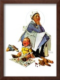 """Exasperated Nanny"", October 24,1936 Framed Giclee Print by Norman Rockwell"