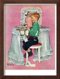 """Boy Reading his Sister's Diary"", March 21,1942 Framed Giclee Print by Norman Rockwell"