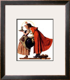 """Mistletoe Kiss"" or ""Feast for a Traveler"", December 19,1936 Framed Giclee Print by Norman Rockwell"