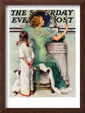 """Going Out"" Saturday Evening Post Cover, October 21,1933 Framed Giclee Print by Norman Rockwell"