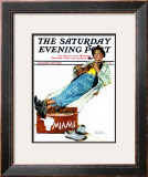 """""""Hitchhiker to Miami"""" Saturday Evening Post Cover, November 30,1940 Framed Giclee Print by Norman Rockwell"""