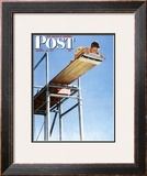 &quot;Boy on High Dive&quot; Saturday Evening Post Cover, August 16,1947 Framed Giclee Print by Norman Rockwell