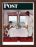 """New York Central Diner"" Saturday Evening Post Cover, December 7,1946 Framed Giclee Print by Norman Rockwell"