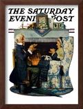 """""""Tea for Two"""" or """"Tea Time"""" Saturday Evening Post Cover, October 22,1927 Framed Giclee Print by Norman Rockwell"""