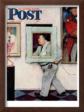 """Picture Hanger"" or ""Museum Worker"" Saturday Evening Post Cover, March 2,1946 Framed Giclee Print by Norman Rockwell"