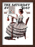 """Needlepoint"" Saturday Evening Post Cover, March 1,1924 Framed Giclee Print by Norman Rockwell"
