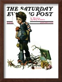 """""""Back to School"""" or """"Vacation's End"""" Saturday Evening Post Cover, January 8,1927 Framed Giclee Print by Norman Rockwell"""