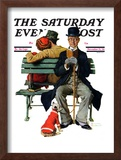 """Overheard Lovers"" (man on park bench) Saturday Evening Post Cover, November 21,1936 Framed Giclee Print by Norman Rockwell"