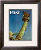 &quot;Working on the Statue of Liberty&quot; Saturday Evening Post Cover, July 6,1946 Framed Giclee Print by Norman Rockwell