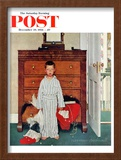 """""""Truth about Santa"""" or """"Discovery"""" Saturday Evening Post Cover, December 29,1956 Framed Giclee Print by Norman Rockwell"""