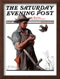 """Farmer and the Bird"" or ""Harvest Time"" Saturday Evening Post Cover, August 18,1923 Framed Giclee Print by Norman Rockwell"