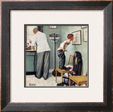 """Before the Shot"" or ""At the Doctor's"" Saturday Evening Post Cover, March 15,1958 Framed Giclee Print by Norman Rockwell"