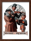 """Christmas Trio"" or ""Sing Merrille"", December 8,1923 Framed Giclee Print by Norman Rockwell"