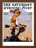 """On Top of the World"" Saturday Evening Post Cover, October 20,1934 Framed Giclee Print by Norman Rockwell"