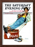 """Hitchhiker to Miami"" Saturday Evening Post Cover, November 30,1940 Framed Giclee Print by Norman Rockwell"