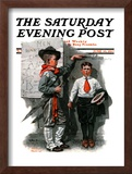 """Necessary Height"" Saturday Evening Post Cover, June 16,1917 Framed Giclee Print by Norman Rockwell"