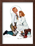 """Letter Sweater"" (boy & girl), November 19,1938 Framed Giclee Print by Norman Rockwell"
