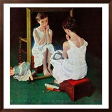 """Girl at the Mirror"", March 6,1954 Framed Giclee Print by Norman Rockwell"