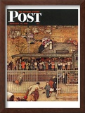 """Commuters"" (waiting at Crestwood train station) Saturday Evening Post Cover, November 16,1946 Framed Giclee Print by Norman Rockwell"