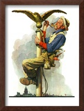 """Gilding the Eagle"" or ""Painting the Flagpole"", May 26,1928 Framed Giclee Print by Norman Rockwell"