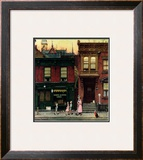 """Walking to Church"", April 4,1953 Framed Giclee Print by Norman Rockwell"