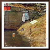 """""""Swimming Hole"""", August 11,1945 Framed Giclee Print by Norman Rockwell"""