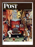 """Road Block"" Saturday Evening Post Cover, July 9,1949 Framed Giclee Print by Norman Rockwell"