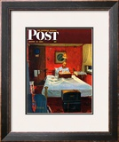"""Solitaire"" Saturday Evening Post Cover, August 19,1950 Framed Giclee Print by Norman Rockwell"