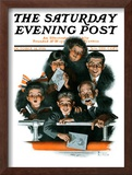 """Charlie Chaplin Fans"" Saturday Evening Post Cover, October 14,1916 Framed Giclee Print by Norman Rockwell"