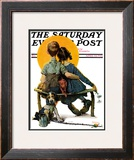 """Little Spooners"" or ""Sunset"" Saturday Evening Post Cover, April 24,1926 Framed Giclee Print by Norman Rockwell"