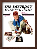 """Boy Gazing at Cover Girls"" Saturday Evening Post Cover, September 22,1934 Framed Giclee Print by Norman Rockwell"