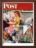 """""""Baby Sitter"""" Saturday Evening Post Cover, November 8,1947 Framed Giclee Print by Norman Rockwell"""