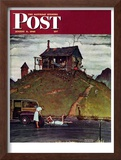 """Changing a Flat"" Saturday Evening Post Cover, August 3,1946 Framed Giclee Print by Norman Rockwell"