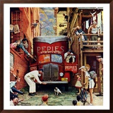 &quot;Road Block&quot;, July 9,1949 Framed Giclee Print by Norman Rockwell
