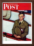 """Willie Gillis in Church"" Saturday Evening Post Cover, July 25,1942 Framed Giclee Print by Norman Rockwell"