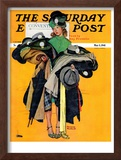 """Hatcheck Girl"" Saturday Evening Post Cover, May 3,1941 Framed Giclee Print by Norman Rockwell"