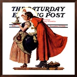 """""""Mistletoe Kiss"""" or """"Feast for a Traveler"""" Saturday Evening Post Cover, December 19,1936 Framed Giclee Print by Norman Rockwell"""