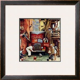"""Road Block"", July 9,1949 Framed Giclee Print by Norman Rockwell"