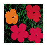 Flowers, 1964 (Red, Pink and Yellow) Giclée-tryk af Andy Warhol