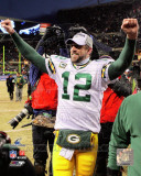 Aaron Rodgers Celebrates winning the 2010 NFC Championship Game Photo