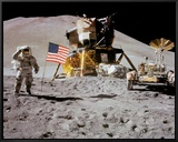NASA - Astronaut,Rover,Flag On Moon  - Spaceshots Framed Canvas Print