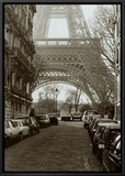 Street View of La Tour Eiffel Framed Canvas Print by Clay Davidson