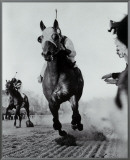 Seabiscuit Moves Ahead of War Admiral, 1938 Framed Canvas Print